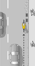 Велосипедист в дясно на пътната лента